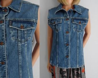 Denim jean vest, waistcoat gilet jacket, womens, button up collared top, medium