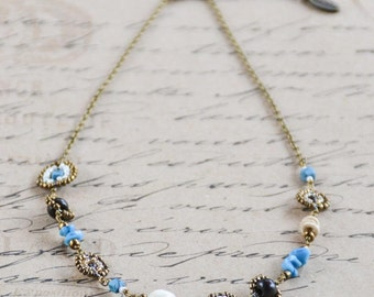 Rustic blue, ivory, brown and gold Maasai beadwork necklace