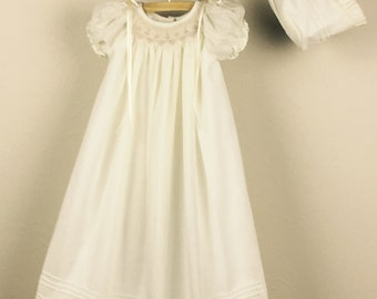 Christening Gown, Cotton Baptism Gown, Girls Baptism Dress, Dedication Dress,  Ivory,  Long Christening Gown with Bonnet