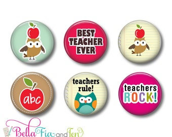 Teachers Gift Set of 6 Magnets 1 Inch (2.5cm)