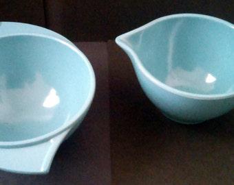 Vintage Mid Century Modern Boonton Melmac Turquoise Sugar Bowl & Creamer