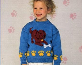 Knitting Pattern Dog Motif : Girls knitting pattern girls mohair cardigan mohair by Minihobo