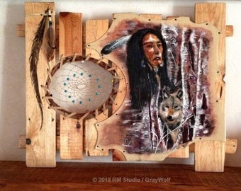 "Original painting on leather - wolf - Native American Indian ""Red Spirit"""