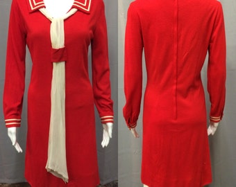 Vintage 1960's Red Sailor Dress with Neck Sash by Jo Jr Dallas