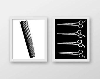 Beauty Salon Art Print Set of 2 - Hair Stylist Art - Beauty Salon Decor - Hairdresser - Barber - Beautician - Wall Art
