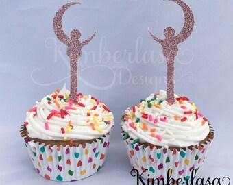sailor moon cupcake toppers, sailor moon party, sailor moon birthday, crescent wand cupcake, anime cupcake, sailor senshi cupcake topper