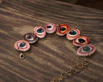 Eye bracelet, Oddities, Steampunk bracelet, Victorian bracelet, Unusual jewelry, Strange jewelry, Evil eye, Quirky creepy weird jewelry