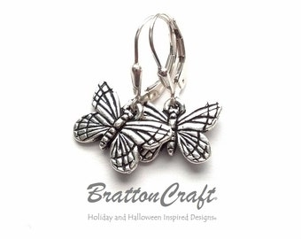 Silver Butterfly Earrings - Butterfly Earrings - Monarch Butterfly Earrings - Bug Earrings - Insect Earrings - Butterfly Jewelry