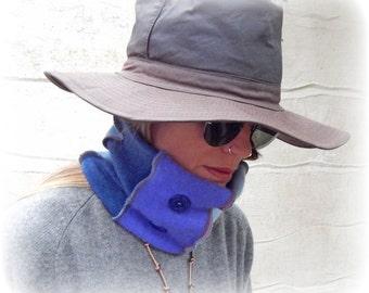 Blue Neck Warmer, Cashmere Neckwarmer, Upcycled Scarf, Recycled Headband, Soft Beanie, Soft Tube Scarf, Cosy Cowl, Warm Earmuff, Hair Wrap
