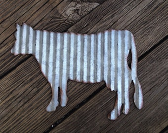 Galvanized Metal Cow Industrial Wall Decor Rustic Farmhouse Country Decoration Corrugated Steel Barnyard Primitive Sign Accessory