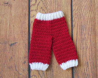 Santa Pants~ Longies- Newborn-12 mos-crochet diaper cover pants- Red with White Trim-- FREE SHIPPING