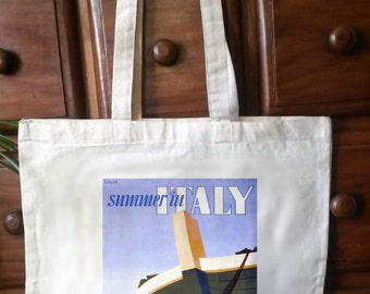 cotton tote bag with reproduction vintage travel poster print - Bag 07