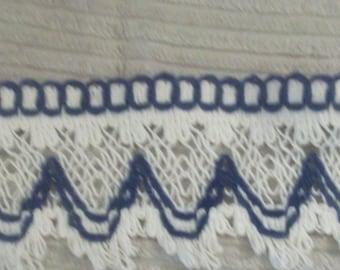 Navy blue and ecru cotton trim