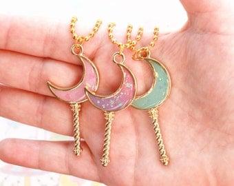 Kawaii Moon Wand Necklace - fairy kei necklace, magical girl necklace, kawaii necklace