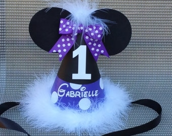 Minnie Mouse birthday party hat with name; purple; lavender