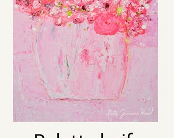 Acrylic Flowers Painting. Pink Romantic Art Still Life Floral Gifts. Cottage Chic Decor. Anniversary Gift for Girlfriend. 259