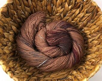 Sepia - Handdyed glitter merino superwash sock yarn