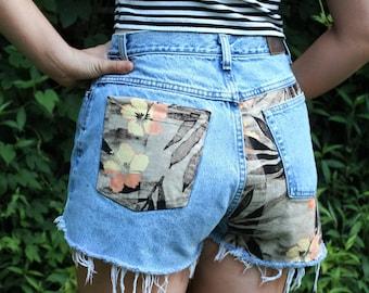 Custom Denim Shorts Frayed Cutoff Jean Shorts High Waist 30