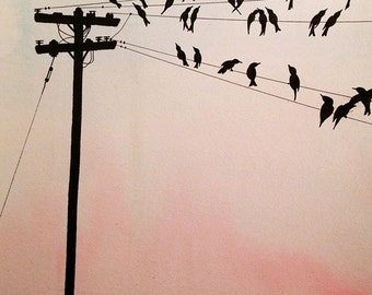 Birds on a Wire, Wall Art, Wall Decor, Watercolor, Print