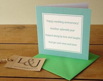 Funny Card - Wedding Anniversary - Anniversary Card - Funny Anniversary - Parents Anniversary - 1st Anniversary - Friends Anniversary