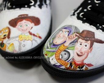 Toy Story shoes, hand painted sneakers, Sheriff Woody, Jessie, Buzz lightyear, painted shoes, canvas shoes, custom painted shoes
