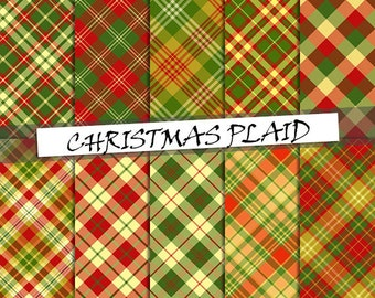 Christmas red and green plaid digital paper: scottish plaid patterns, printable xmas tartan digital paper; for commercial use