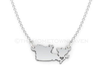 Canada Necklace - Canada map necklace, Canada pendant, I heart Canada necklace