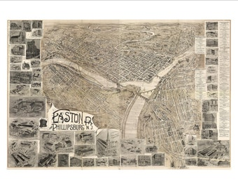 """Easton Pennsylvania in 1900 Panoramic Bird's Eye View Map by Landis & Alsop 22x16"""" Reproduction"""