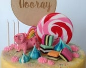 Hooray Birthday Disc Wooden Cake Topper, Wedding Cake Topper (Australia)