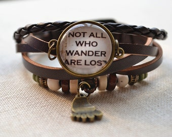 Steampunk Quote Bracelet,'Not all who wander are lost' leather bracelet,footprint charm bracelet,braided leather photo jewelry (SL014)