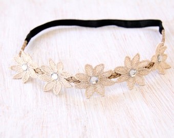 Flower Headband, Floral Headband, Flower Chain Headband, Daisy Chain Headband, Flower Crown, Flower Head Wrap, Flower Hairband, Boho