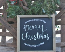 Framed Merry Christmas Sign with Permanent Chalk
