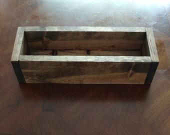 Rustic Wood Box Home Decor Centerpiece Planter Box