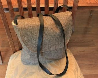 tote bag, burlap fabric,leather or webbing strap, flap, adjustable shoulder strap