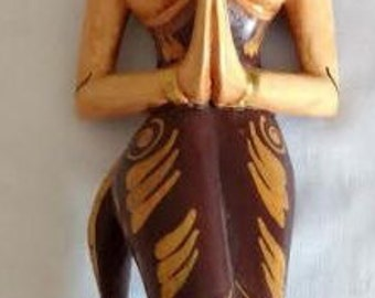 "Spritual Hand Carved 16"" Wooden Statute of Hindu Woman Praying"