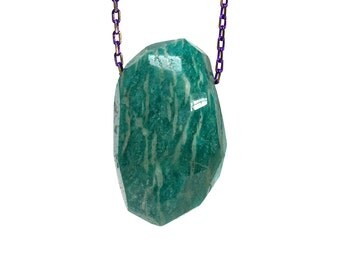 Amazonite Stone on Purple Chain