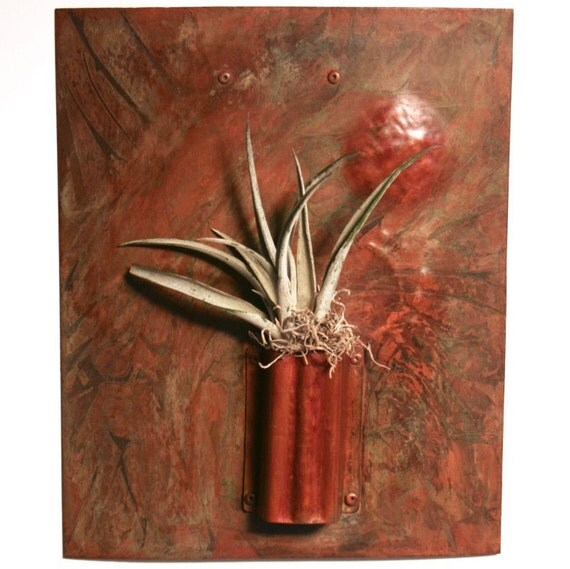 Metal wall art copper sculpture air plant by minnickmetalart for Air plant wall art