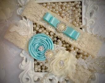 Bridal garter set/blue garter/aqua garter/Lace garter/Prom garter/bridal fashion/something blue/bridal gift