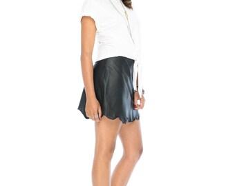 Black Raw Hem Leather Skirt
