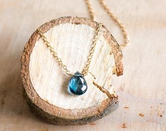 London Blue Topaz Necklace, Blue Topaz Jewelry, Gold Delicate Something Blue Necklace, London Blue Pendant Necklace, Bridal Necklace