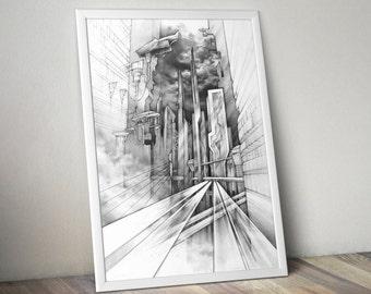 city of the future PRINT by Katarzyna Kmiecik / pencil sketch print, futuristic print, future architecture, realistic artwork, concept art