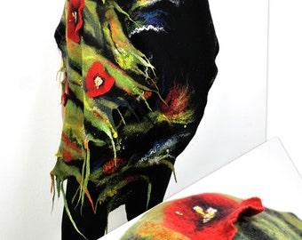 Shawl / Poppy flowers /  Nuno / Silk shawl / Handmade felted scarf / Wool shawl/ Black /Red /Green / Free shipping.