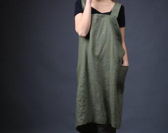 Linen Pinafore, Crossed Linen Apron, Wrap linen apron, Japanese Apron, Long linen apron, Cross back apron, Sizes XXS to XXL