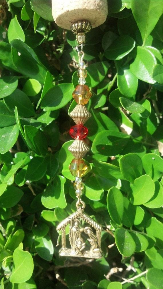 Gold nativity christian wine cork ornament beaded bottle charm for Wine bottle christmas tree frame for sale