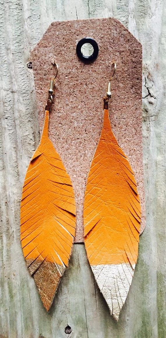 Custom Leather feather gold dipped earrings