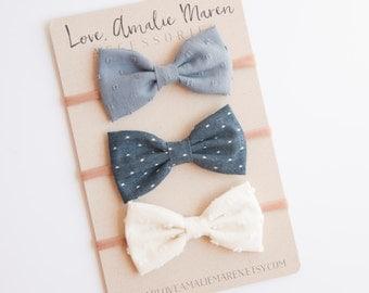 Tuxedo Bow Baby Headband Set of Three Fabric Bows - Infant Bow Nylon Elastic Headband Toddler Hair Clip - Textured Swiss Dot, Denim Chambray