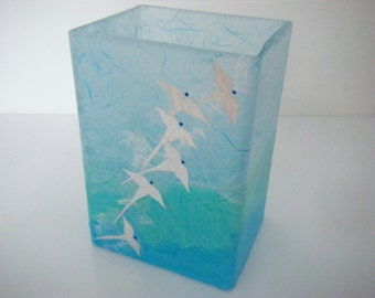 Original Glass Vase with 'Birds in Flight' Design in Turquoise, Sea-Green and Pale Blue