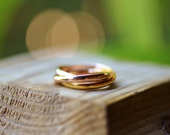 Trinity Gold Rings Gold Stacked Rings Gold Promise Ring Gold Rolling Ring Gold Russian Wedding Ring Gold Wedding Band 18k Rose Gold Rings