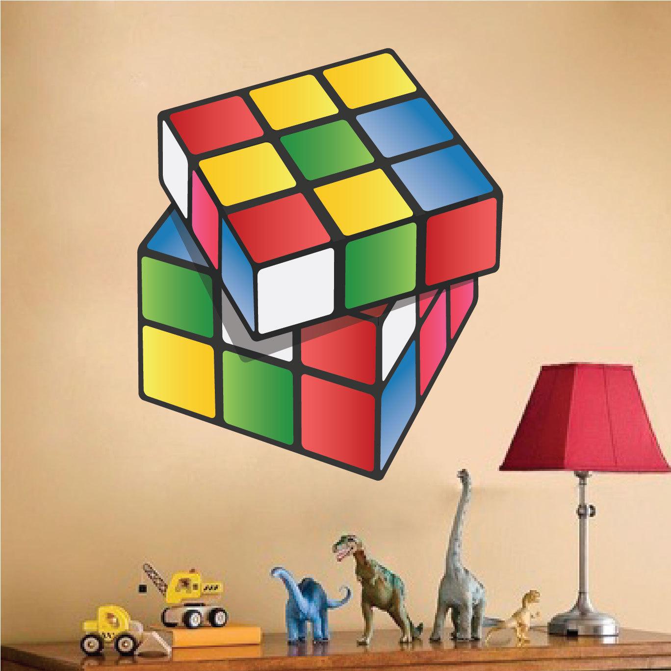 rubiks cube kids wall decals rubiks cube wall art design kids zoom