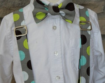 Little Boy Bow Tie and Suspender Set, Little Guy Tie and Suspender Set, Gray/Green/Turquoise/Brown Polka Dot Tie and Suspender Set